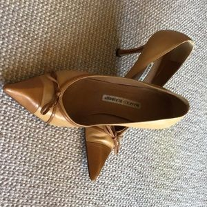 Manola Blahnik tan high heel pumps